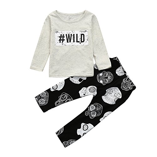 Hatoys Baby Care Boys Girls Letter Print Tops T-Shirt Skull Pants 2Pcs Outfits Set (70) by Hatoys (Image #6)