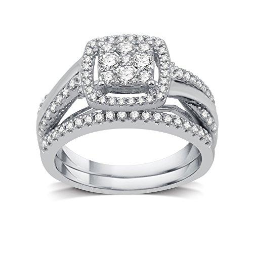DeCarat 3/4 CT.T.W. Diamond Sterling Silver Cluster Twist Shank Bridal Set