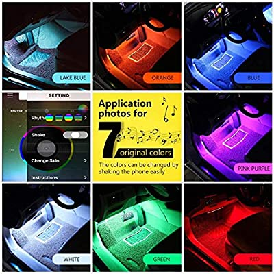 Car LED Strip Lights,EJ's SUPER CAR 4pcs 48 LED Bluetooth App Controller Interior Lights Multi Color Music Car Strip Light Under Dash Lighting Kit,Sound Active Function for iPhone Android Smart Phone: Automotive