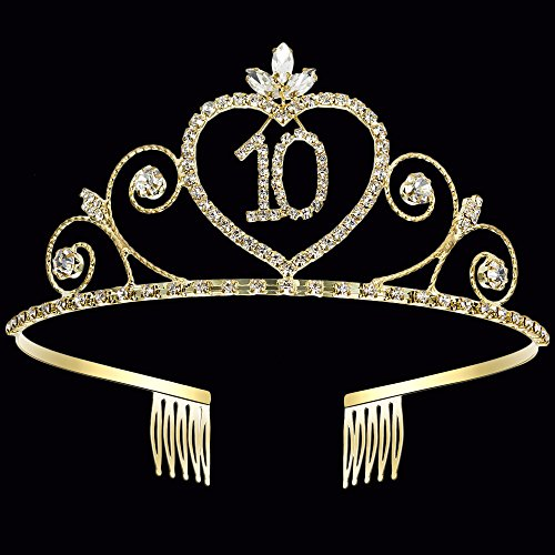Coucoland 10th Crystal Birthday Crown Tiara 10th Rhinestone Princess Birthday Crown Headband Gold 10th Happy Birthday Party Crown Tiara