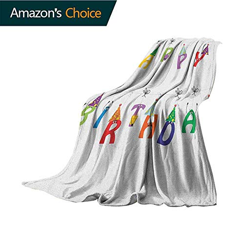 Birthday Travel Blanket,Celebration Cute Colorful Letters on Ropes Funny Faces Pointy Party Hats for Kids 300GSM,Super Soft and Warm,Durable Throw Blanket,30