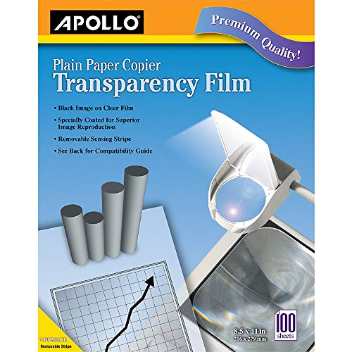 Apollo Transparency Film for Plain Paper Copier, Black on Clear Sheet, with Stripe, 100 Sheets/Pack (VPP201CE)