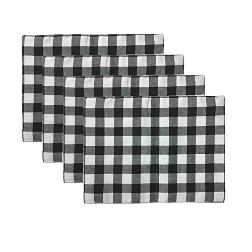 (Aothpher Set of 4 Trellis Placemats Geometric Black & White Checked Square Table Place Mats Buffalo for Dining Table, 12x16 Inches, Double-Deck)