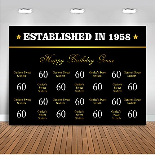 Mehofoto Customized 40th 50th 60th Birthday Backdrop Custom Size Birthday Number Name Background 7x5ft Vinyl Established in 1958 Step and Repeat Birthday Party Banner ()