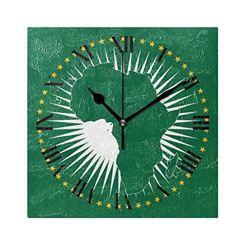 Nugier African Union Flag Square Wall Clock Silent Non Ticking Custom Acrylic Painted Easy to Read Non-Ticking Home Art Bedroom Living Dorm Room Decor 7.87