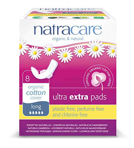 Natracare Ultra Extra Pads with Wings, Long, 8 Count
