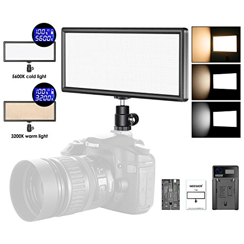 - Neewer Super Slim Bi-Color Dimmable LED Video Light with LCD Display, 2600mAh Li-ion Battery and Charger - Ultra High Power LED Panel, 3200K-5600K for Camera Photo Studio Portrait Video Photography