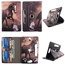 """Brown Horse tablet case 10 inch for Digiland 10.1 10"""" 10 inch android tablet cases 360 rotating slim folio stand protector pu leather cover travel e-reader cash slots"""