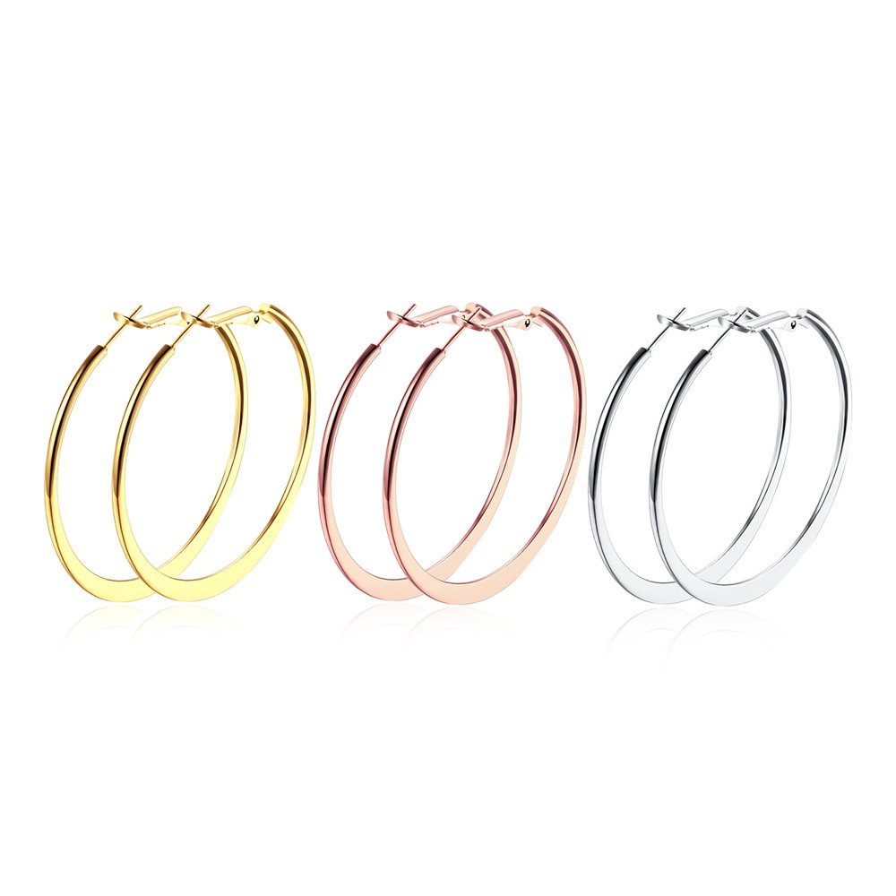 BODYA 18K Gold Plated Rounded Hoop Earrings Stainless Steel for Women, 3 Pairs 3 Colors alloy) Lekani