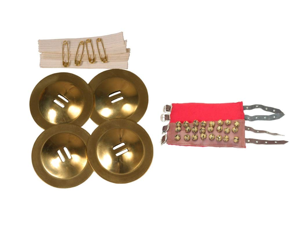 Zills Package Includes: Student Belly Dance Finger Cymbals Dancing Brass + Belly Dance Ankle Bells - 3 Rows W/Buckles