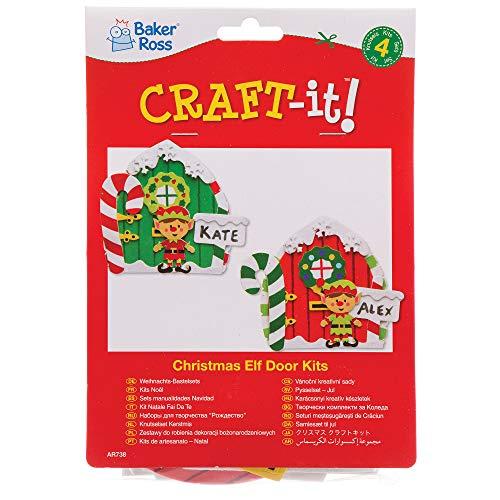 Amazon Com Baker Ross Christmas Elf Door Kits Pack Of 4 For Kids