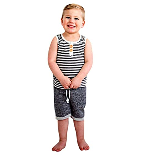 8bb506a41 Amazon.com: Lurryly 2018 Baby Girl Summer Newborn Infant Girl Boy Stripe T  Shirt Tops+Shorts Pants Outfit Clothes 2Pcs Set: Clothing