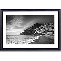 "Positano Coast, Italy - Art Print Black Wood Framed Wall Art Picture For Home Decoration - Black and White - 24""x16"" (60cmx40cm) - Framed"