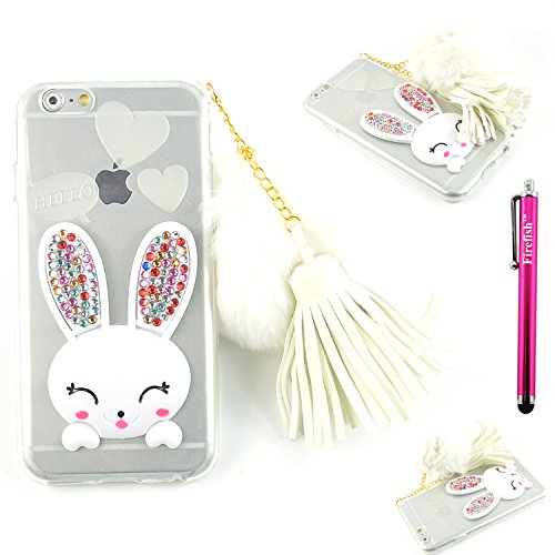 iPhone 5S Case/iPhone SE Case, Firefish Crystal Transparent Silicone Bumper Slim Case Kickstand Bling Cute Cartoon Rabbit Cover with Rhinestone Hairball for Kids Girls (Pretty Cartoon Girls)