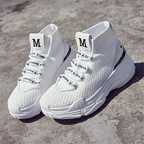 Mujeres Zapatillas Zapatillas Blancas Alto Ligeros Zapatillas Zapatos Unisex Calcetines Zapatos Transpirable Casual De Punto Deslizamiento En Aqf64ApW