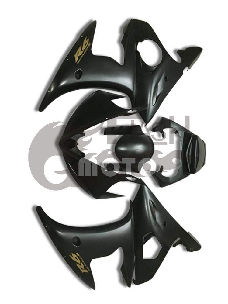 FlashMoto yamaha ヤマハ YZF-600 R6 2005用フェアリング 塗装済 オートバイ用射出成型ABS樹脂ボディワークのフェアリングキットセット ブラック   B07LF29S7B