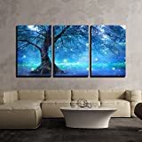 "wall26 - 3 Piece Canvas Wall Art - Fairy Tree in Mystic Forest - Modern Home Decor Stretched and Framed Ready to Hang - 24""x36""x3 Panels"