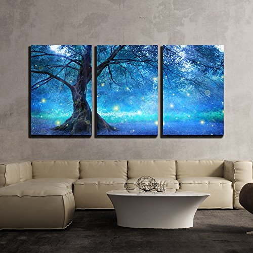 wall26 - 3 Piece Canvas Wall Art - Fairy Tree in Mystic Forest - Modern Home Decor Stretched and Framed Ready to Hang - 16