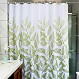 MangGou Leaves Fabric Shower Curtain,Waterproof Polyester Bathroom Curtain,Decorative Shower Curtain liner With 12 Hooks,Mildew resistant,Machine Washable,72 x 72 inch ,Green