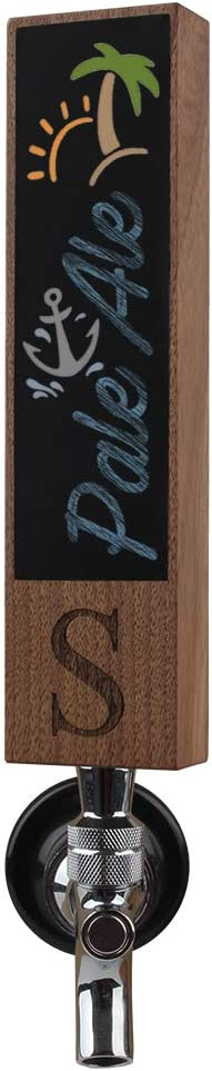Chalk Tap Handles for Kegerator, Engraved with Monogrammed Letter S. Great for Bar, brewery and home kegerators, 8Inch Tall Walnut Wood