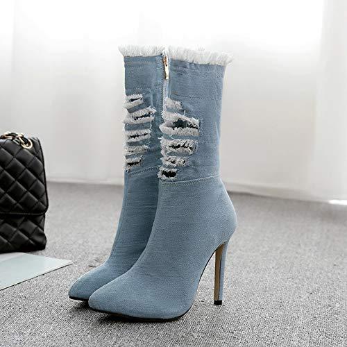 High Heels löcher aus aus aus Alten Jeans Knielangen Stiefeln. 60ea45