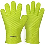TOPULORS New Oven Mitts Gloves Resistant Max Heat Silicone BBQ Grilling Gloves for Cooking Baking Barbecue Potholder-Green