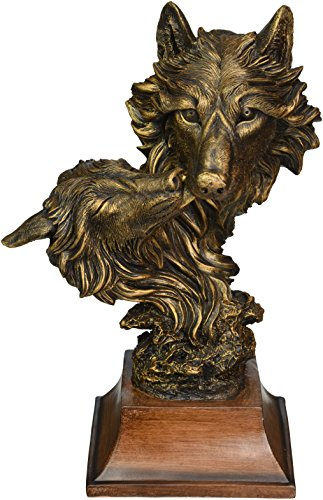 (StealStreet 13 Inch Bronzed Like Wolf Wolves Bust Figurine)