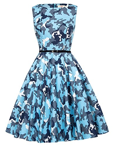 GRACE KARIN Blue Camouflage Color 1940s Retro A line Swing Dress Size XL F-55 ()