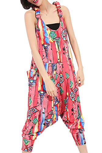 ELLAZHU Women Juniors Sleeveless Backless Harem Rompers Jumpers Jumpsuits GY615 Pink