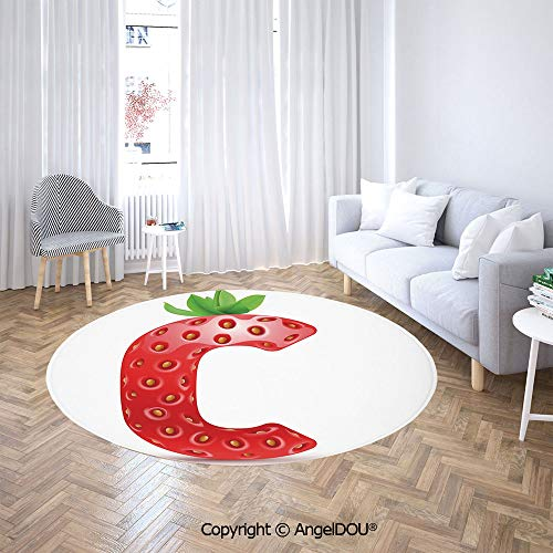 AngelDOU Bedroom Chair Rugs Non-Slip Door Round Mat Strawberry Letter from Alphabet with Green Leaves Seeds Uppercase C Decorative Toilet Bath Decorate Carpets.