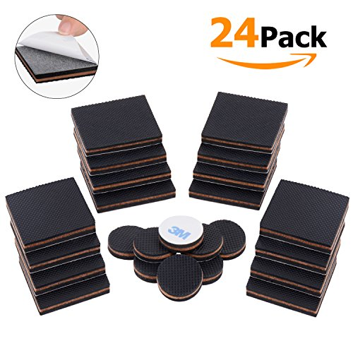 Adoric Life Non-Slip Furniture Pad Set, 16 pcs 2'' Square+8 pcs 1'' Round Furniture Pads, Furniture Floor Protectors for Keep in Place Furniture/ Furniture Stoppers