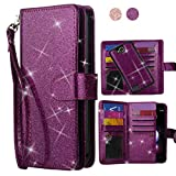 AYMECL LG X Power 2/X Charge/ K10 Power/Fiesta 2 LTE Case[Glitter Sparkly Style][Detachable] Faux PU Leather Wristlet Magnetic Snap Closure Case with ID and Credit Card Pockets for LG LV7-LC Purple For Sale