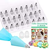 Cake Decorating Set 27 Pcs, PEYOU Cake Decorating Kit: 24 Stainless Steel Icing Piping Tips Set,1 Reusable Silicone Pastry Bag, 2 Icing Nozzle Couplers for Cakes Cupcakes Cookies Pastry