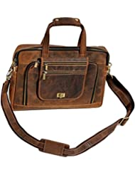 15 Inch Retro Buffalo Hunter Leather Laptop Messenger Bag Office Briefcase College Bag leather bag for men and...