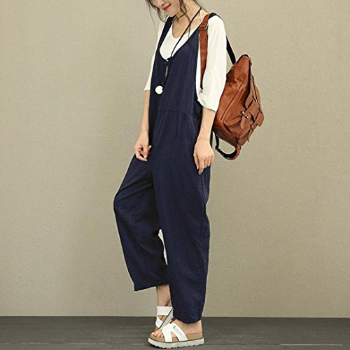 Women Jumpers Overalls Jumpsuits Pants Dungarees Romper Long Trousers Pants Working Vest Shirts Hemlock (XL, Navy) from Hemlock Jumpsuits