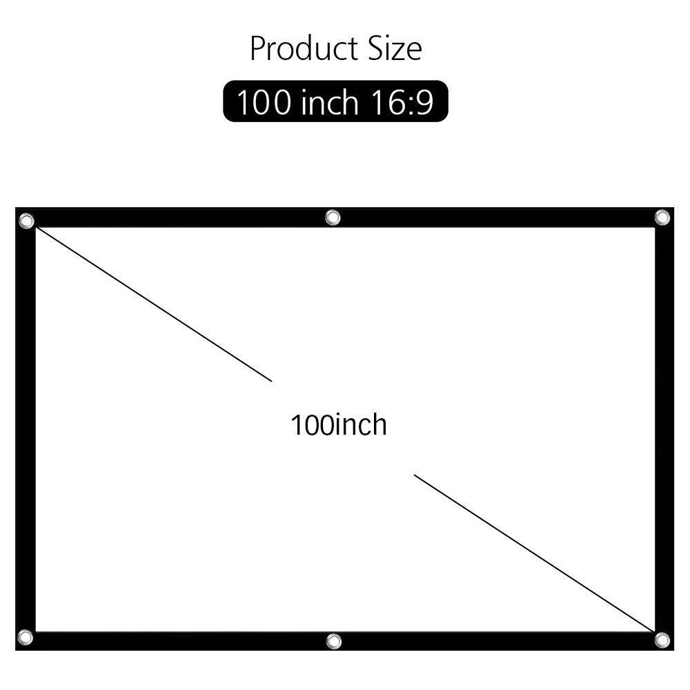 Espesado 9 para Interior y Exterior Rovtop Pantalla de Proyector de Montaje en Pared//Techo Port/átil y Plegable de 100 16