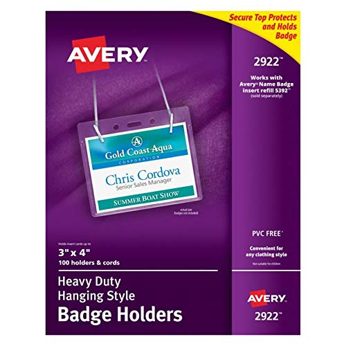 Avery Clear Heavy-Duty Hanging Style Landscape Badge Holders, 3 x 4, Box of 100 (2922)
