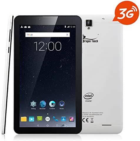 Dragon Touch S7 7'' 3G Phablet, Unlocked Android Tablet, Intel Quad Core Android 5.1 Lollipop, IPS Display GPS Bluetooth, Dual Camera Phone Calling, GSM Dual Sim Card Slot Supported