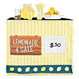 HIDEABOO Lil' Biz Polyester Easy Lemonade Stand Standard Card Table Cover, Classic Yellow and White