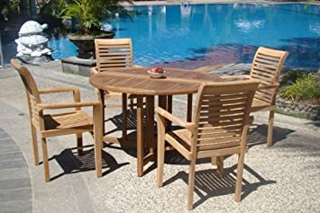 Grade-A Teak Wood luxurious 5 pc Dining Set 48 Round Table and 4 Stacking Sam Arm Chairs TSDSMS1