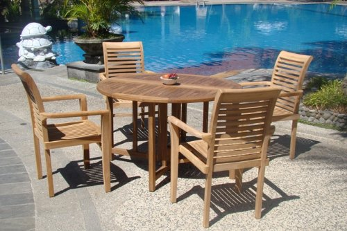 Grade-A Teak Wood luxurious 5 pc Dining Set : 48″ Round Table and 4 Stacking Sam Arm Chairs #TSDSMS1 For Sale