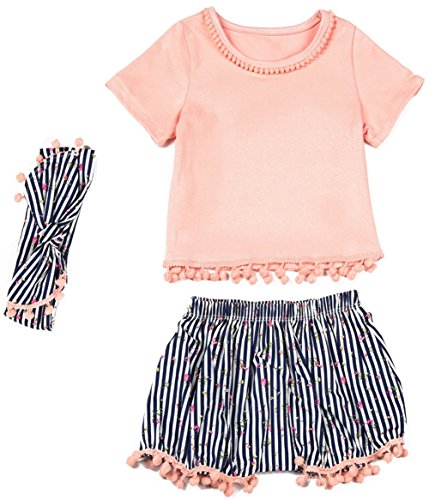 Messy Code Baby Girls Outfits Clothing Sets Boutique Toddlers Training Shorts with Headbands (Pretty Girl Outfits)