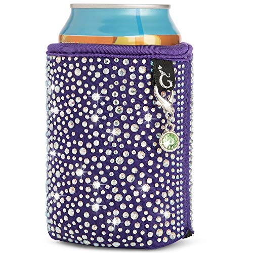 Glamour Puss Stylish Rhinestone Drink Cooler - Beer Can Coolies, Coolers for Women - Insulated Wedding Favor, soda can Holder for Ice Cold Drinks, Beverage Sleeves That Sparkle, Great Party Gift.