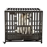 SMONTER 42'' Heavy Duty Strong Metal Dog Cage Pet Kennel Crate Playpen with Wheels, I Shape, Brown