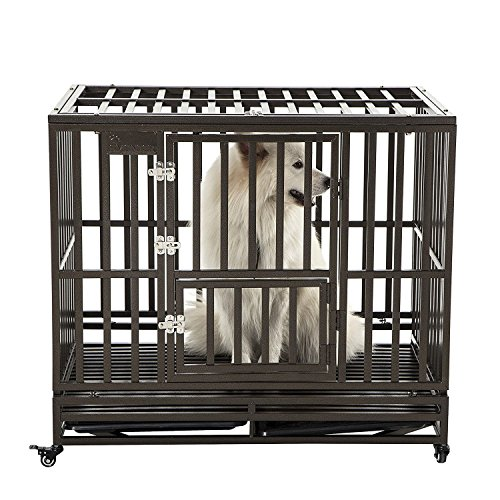 SMONTER 38' Heavy Duty Strong Metal Dog Cage Pet Kennel Crate Playpen with Wheels, I Shape, Brown
