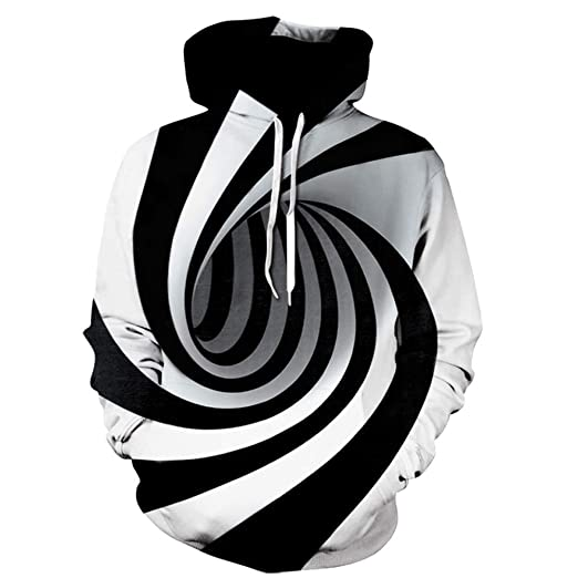 8127f0a860a Amazon.com  Birdfly Black-White Swirl Print Fashion 3D 2018 Fall Winter  Fashion Men Hoodie Plus Size 2L 3L 4L 5L  Sports   Outdoors