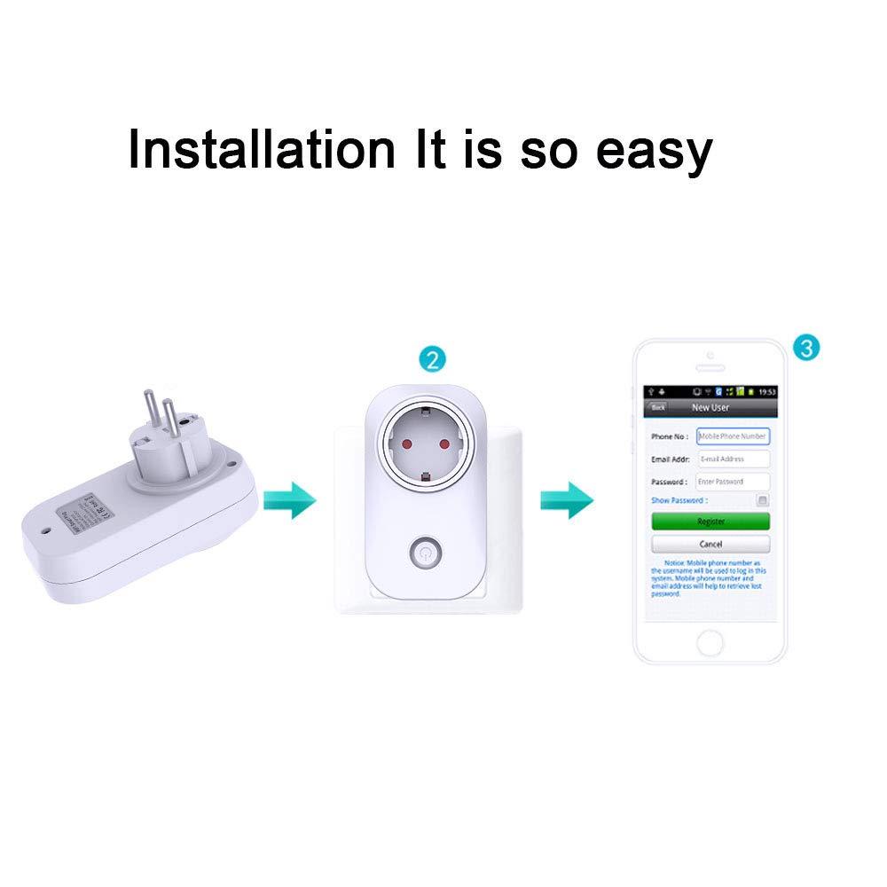enchufe inal/ámbrico inteligente con control remoto de voz WiFi Smart Socket funciona con Alexa//Google Home con hora no requiere Hub