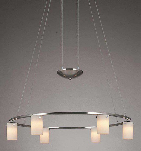 George Kovacs P8025-084, Counter Weights, 6 Light Chandelier, Brushed Nickel