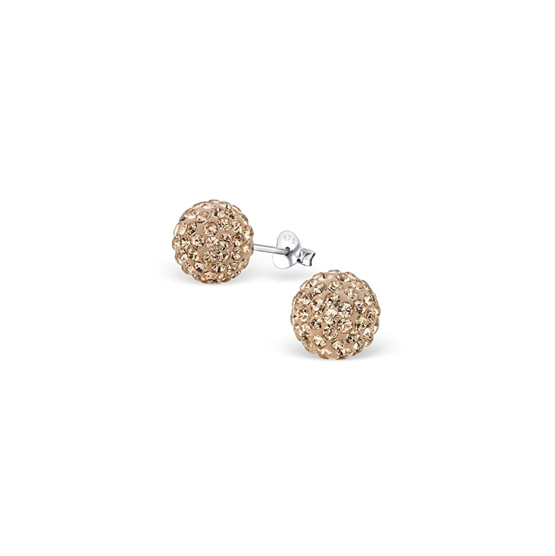 Ball Ear Studs With Crystal Sterling Silver 925 Liara Polished And Nickel Free