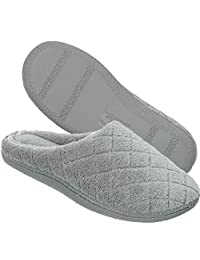 Dearfoams Women's Quilted Terry Clog Mule Slipper – Padded Terrycloth Slip-Ons